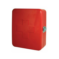First Aid Steel Wall Mount Storage Box in Red & White