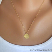 Hope Necklace in Gold - Circle Pendant Hope Charm - Perfect Gift - Gold Filled Fine Cable Chain - morganprather