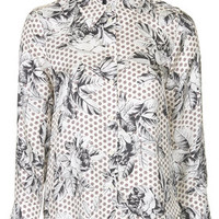 Geo-Rose Silk Shirt by Boutique - Ivory