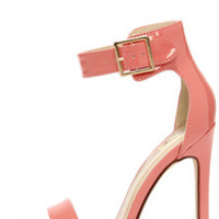 My Delicious Canter Salmon Patent Ankle Strap Heels