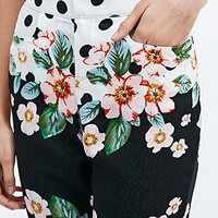 Native Rose Lotus and Dots Flared Trousers - Urban Outfitters
