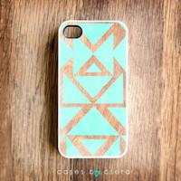 Unique iPhone Case - iPhone 4S Case, Wood iPhone Case, Mint Tribal iPhone 4 Case, More Cases For iPhone 5 Case Coming Soon