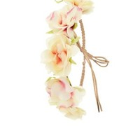 Braided Faux Suede Flower Crown by Charlotte Russe - Pink Combo