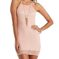 Racer Front Bodycon Lace Dress by Charlotte Russe - Blush