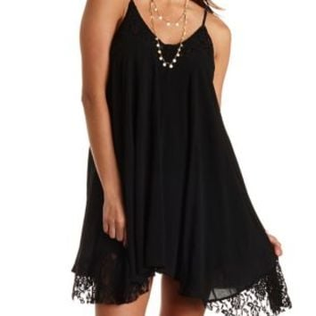 Lace Trim Trapeze Dress by Charlotte Russe - Black