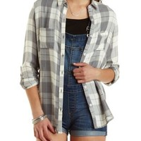 Flyaway Plaid Button-Up Tunic Top by Charlotte Russe - Gray Combo