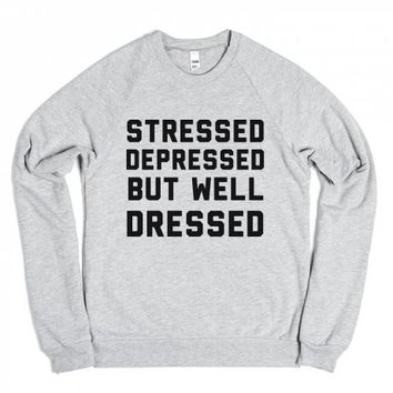 Stressed Depressed-Unisex Heather Grey Sweatshirt