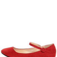 Doby 4 Red Velvet Mary Jane Ballet Flats - $19.00