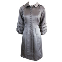 Unworn 1970's era duchess satin gray dress at 1stdibs