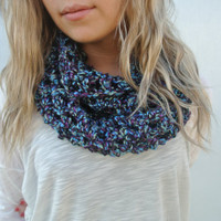 Chunky Crochet Infinity Wrap Scarf in Galaxy Blue
