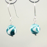 Teal Glass Earrings Handmade Blue and White Swirl Lampwork Beads with Sterling Silver findings