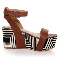 Matiko Lyon Brown with Black and White Print Flatform Sandals - $173.00