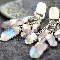 Opal Aura Quartz Charm Earrings on Chains in Sterling by elseetee2