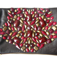 CHOCOLATE CHERRY brown foldover party clutch bag embelished with burgundy and old gold stones made of Italian leather