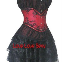 Buy corset, wholesale sexy lingerie, sexy lingerie, Wholesale Red + black sexy corset Classic corset Fashion costume Sexy lingerie corset+skirt+thong827 at Aliexpress.com