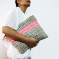 Oversized Crochet Purse Grey Neon Pink Color Block Foldover Clutch