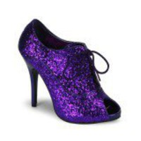 Purple Glitter Burlesque Ankle Boots