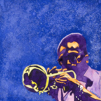 Watercolor Painting Print Jazz Horn Player 8x8