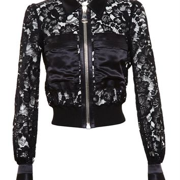 Cropped Lace Jacket with Silk-Satin Trim - GIVENCHY