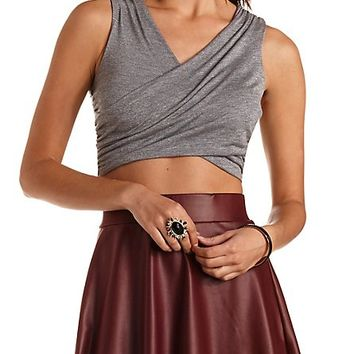 Ruched Wrap Crop Top by Charlotte Russe - Lt Gray