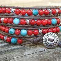 Beaded Leather 4 Wrap Bracelet with Southwestern Red Turquoise and Silver Beads on Brown Leather