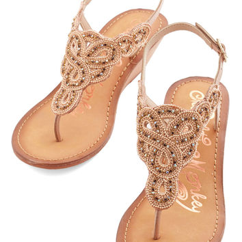 ModCloth Luxe Twinkle in Your Stride Sandal in Beige