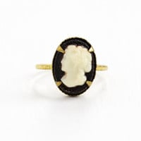 Vintage Cameo Brass Czech Ring - 1930s Lucite Off White on Black Cameo Made in Czechoslovakia Size 3 1/4 Costume Jewelry