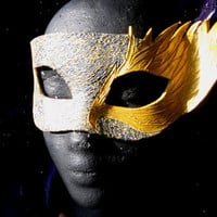 Golden Aeon Raven Handmade Leather Masquerade Mask