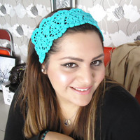 Hair Fashion, Hair Accessories Handcrocheted Headband, Summer Headband in Turquoise Color