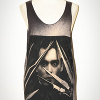 JOHNNY DEPP Edward Scissorhands Actor T-Shirt Charcoal Black Sleeveless Tank Top Women Indie Art Rock Singlet Size S