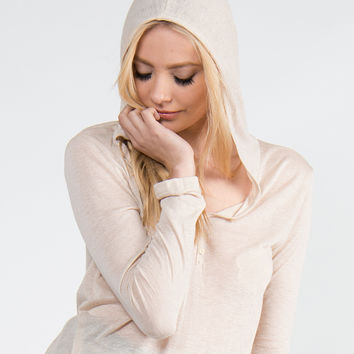 Hooded Long Sleeve Henley Top - Natural /