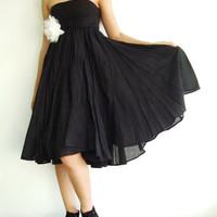 NO.6 Black Cotton Asymmetric Skirt-Dress(2 Options skirt)