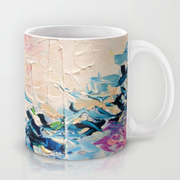 PARADISE DREAMING Colorful Pastel Abstract Art Painting Textural Pink Blue Tropical Brushstrokes Mug by EbiEmporium