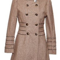 Camaieu-Brown Womens Wool Tweed Winter Coat: Amazon.co.uk: Clothing