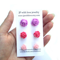 Flower Stud earrings, Lilac Stud earrings, Pink Stud earrings,