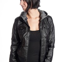 Miss Posh Hooded Faux Leather Moto Jacket - Black