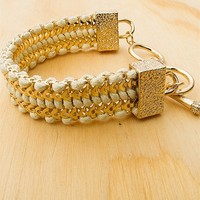 Jewelry & Accessories Wrap Up And Roll Herringbone Toggle Clasp Multi Strand Bracelet - Cream