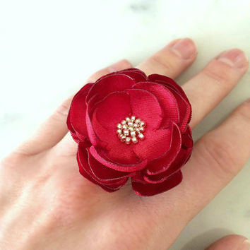 Red flower ring vintage cocktail adjustable silver filigree statement satin fabric flower ring accessory holidays weddings gift  Lainey