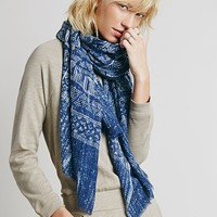 Saachi for Free People Womens Tribal Painted Oversized Scarf