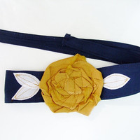 Navy Blue with gold rosette headband, head wrap, San Diego Chargers, WVU, St. Louis Rams, ETSU, Notre Dame, School Colors