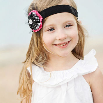 Girls Hot Pink Yoyo Headband PARIS  Black & Hot Pink Fabric Yoyo Headband  Tulle Rhinestone