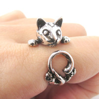 Creepy Kitty Cat Shaped Animal Wrap Around Ring in Shiny Silver | US Size 5 to Size 8.5 -