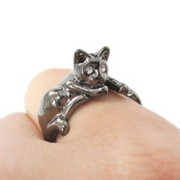 Relaxing Kitty Cat Animal Wrap Around Ring in Gunmetal Silver | US Sizes 4 to 9 Available -