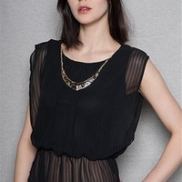 Striped Chiffon Sleeveless Drape Top with Necklace - Black