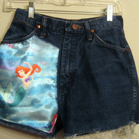 Little Mermaid High  Waisted Shorts 25 inches