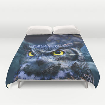 Owl and Moon Duvet Cover by Erika Kaisersot