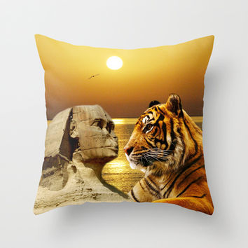 Tiger and Sphinx Throw Pillow by Erika Kaisersot