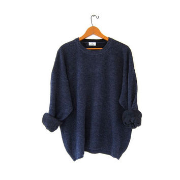 Vintage Oversized Sweater. Dark Blue Wool Sweater. Boyfriend Sweater. Italian Sweater Jumper