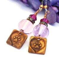 Dog Rescue Earrings Handmade Paw Print Heart Pink Lampwork Valentines