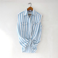Vintage SLEEVELESS striped denim shirt. Faded blue + white tank top. Button front jean shirt. Sun washed shirt.